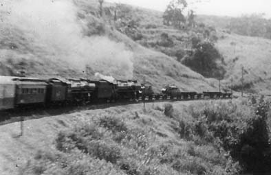 A train in rebel-infested area near Tasikmalaya. Note the armored cars ahead.